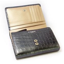 COCCO(コッコ) 二つ折り財布(小銭入れあり) 「ル・プレリー」 NP25110 クロ 内作り