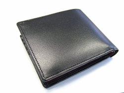 ボックスカーフ ヴェネチアンレザー  二つ折り財布(小銭入れあり)  「プレリーギンザ」 NP56118 クロ 裏面
