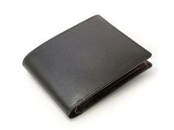 ボックスカーフ ヴェネチアンレザー  二つ折り財布(小銭入れあり)  「プレリーギンザ」 NP56118 クロ 正面