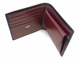 ボックスカーフ ヴェネチアンレザー  二つ折り財布(小銭入れあり)  「プレリーギンザ」 NP56118 クロ 内作り