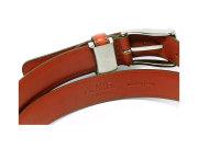 牛革 チャ系色バリエーションベルト 30mm幅 ピン式 「プレリーギンザ」 NB17710 サドルブラウン 裏面